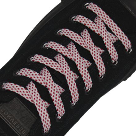 Spotted Shoelace - White with Red Spots Flat Length 120 cm Width 1cm