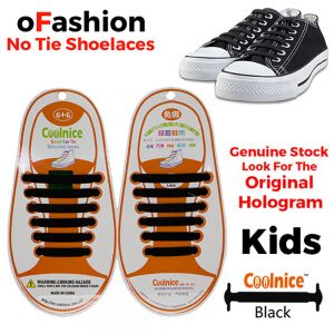 No Tie Shoelaces Silicone - Black 12 Pieces for Kids