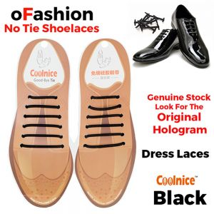 No Tie Dress Laces Silicone - Black 12 Pieces for Adults