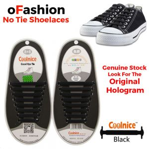 No Tie Shoelaces Silicone Black 16 Pieces Shoes - Original Banner