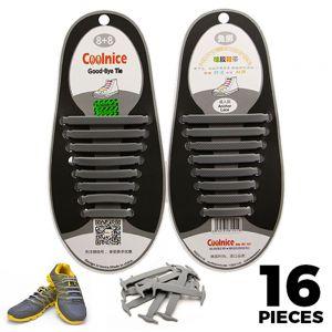 Coolnice No Tie Shoelaces Silicone Grey 16 Pieces - Main