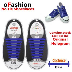 No Tie Shoelaces Silicone Blue 16 Pieces - Original