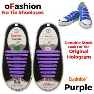 No Tie Shoelaces Silicone Purple 16 Pieces Main