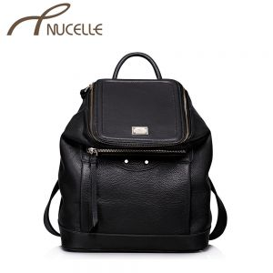 Out Going Black Leather Backpack - Nucelle Backpack - Front