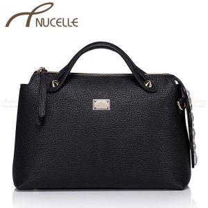 Boston Black Leather Tote Bag - Nucelle Handbags - Front