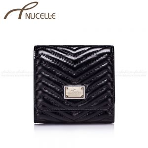 Black Small Leather Wallet - Nucelle Wallets - Front