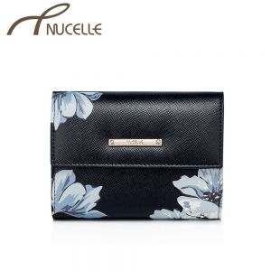 Black Floral Small Wallet - Nucelle Purse - Front