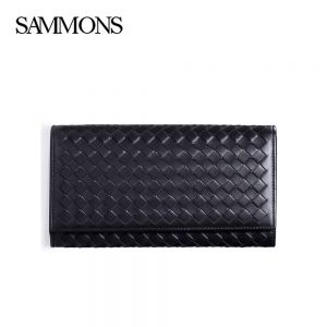 Black Weavon Leather Long Button Mens Wallet - Sammons Wallet - Front
