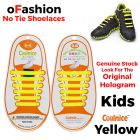 No Tie Shoelaces Silicone - Yellow 12 Pieces for Kids - Main