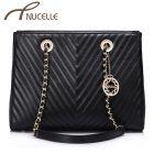 Black Leather Medium Shoulder Bag - Nucelle Handbags - Front
