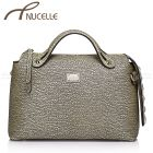 Gold Italian Leather Boston Tote Bag - Nucelle Handbags - Front