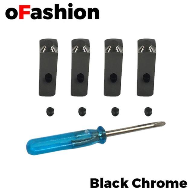 Black Chrome Aglet Lace Metal Tips (4 Pcs) 1