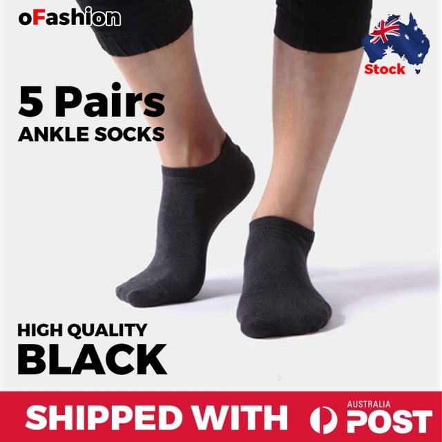 Ankle Socks Black Unisex - 5 Pairs