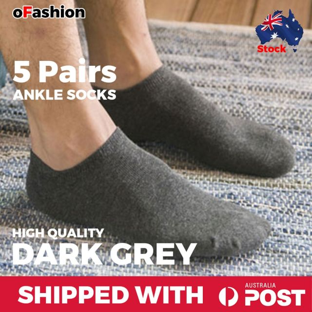 Ankle Socks Dark Grey - 5 Pairs