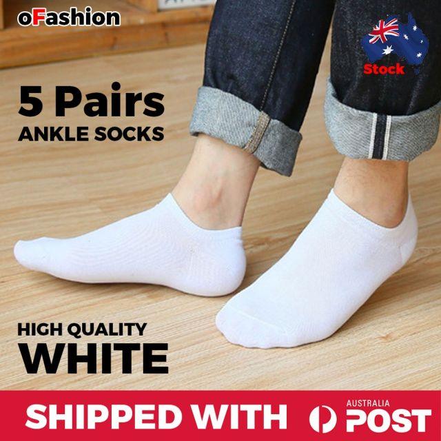 Ankle Socks White Unisex- 5 Pairs