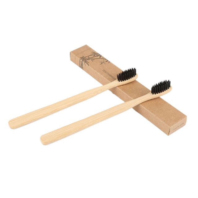 Toothbrush Bamboo Medium Bristles - Black (12 Pack) 1
