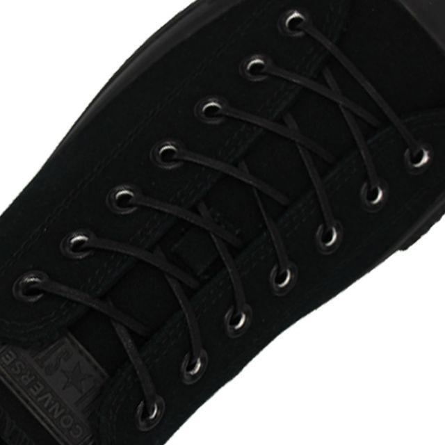 Length: 60cm | Width: 3mm | Flat Black Wax Shoelace