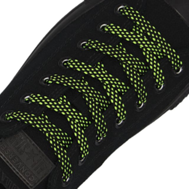 Spotted Shoelace - Black with Green Spots Flat Length 120 cm Width 1cm