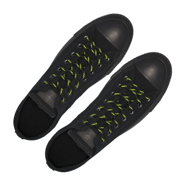 Black with Green Spots - Round Spotted Shoelace - Length 120cm Ø4mm
