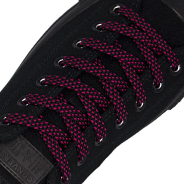 Spotted Shoelace - Black with Pink Spots Flat Length 120 cm Width 1cm