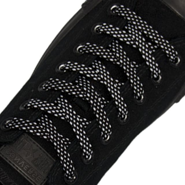 Spotted Shoelace - Black with White Spots Flat Length 120 cm Width 1cm