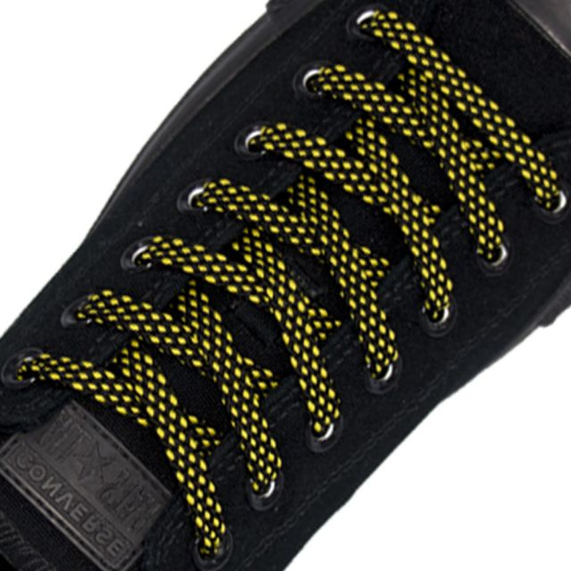 Spotted Shoelace - Black with Yellow Spots Flat Length 120 cm Width 1cm