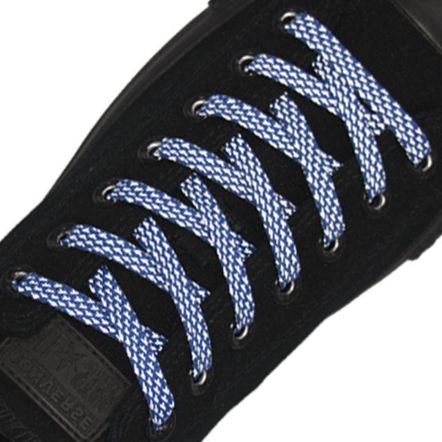 Reflective Shoelaces Flat Blue 120 cm
