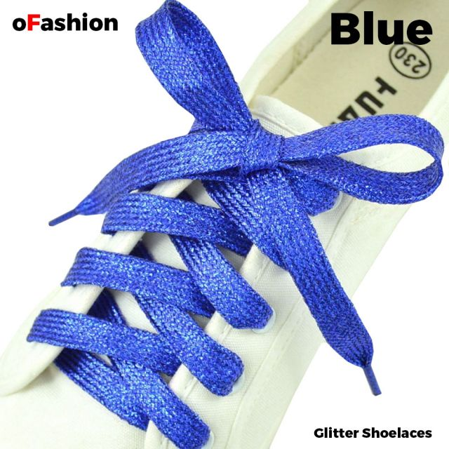 Glitter Shoelaces Flat - Blue Coolnice