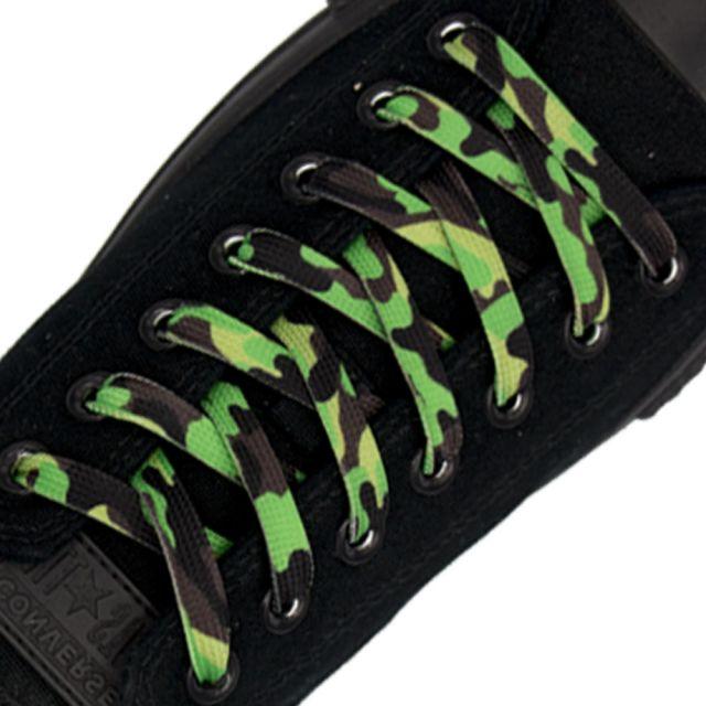 Green Camouflage Shoelace Flat 1cm