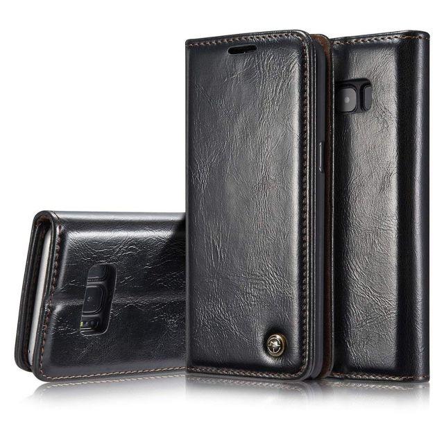 Premium Black Leather Case Wallet - Samsung S8 CaseMe