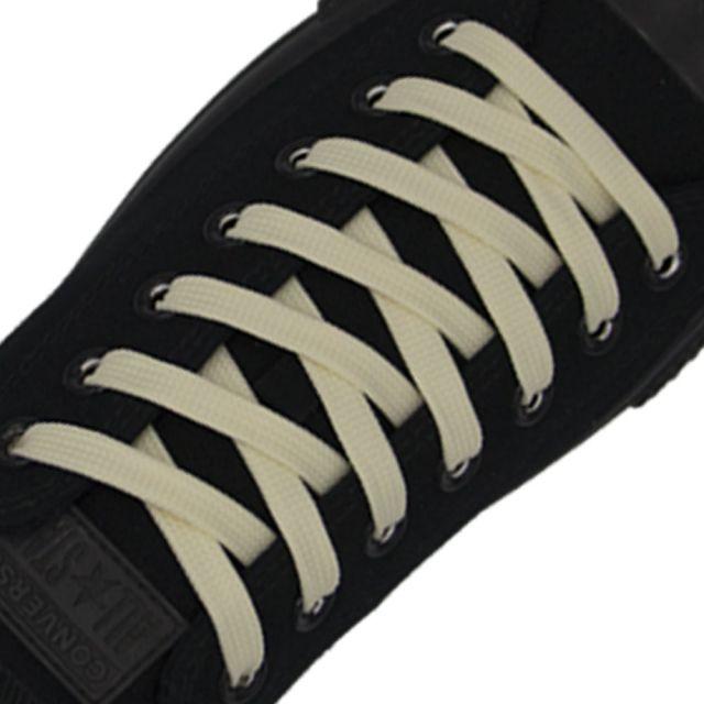Polyester Shoelace Flat - Cream White Length 80cm Width 1cm