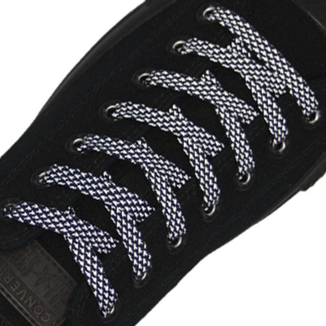 Reflective Shoelaces Flat Dark Blue 120 cm