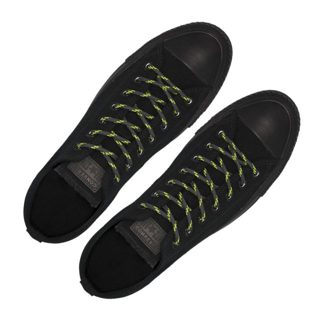 Dark Grey with Green Spots - Round Spotted Shoelace - Length 120cm Ø4mm