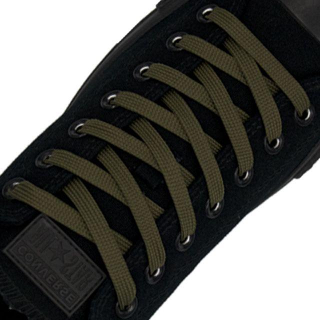 Polyester Shoelace Flat - Dark Khaki Length 80cm Width 1cm