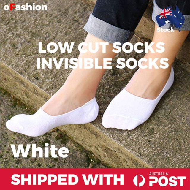 Low Cut Invisible Ankle Socks White
