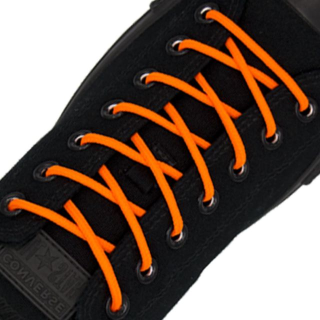 Polyester Shoelace Round - Fluro Orange Length 80cm Diameter 4mm