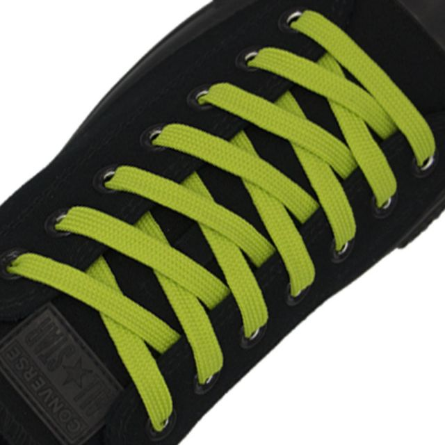Polyester Shoelace Flat - Fluro Yellow Length 80cm Width 1cm