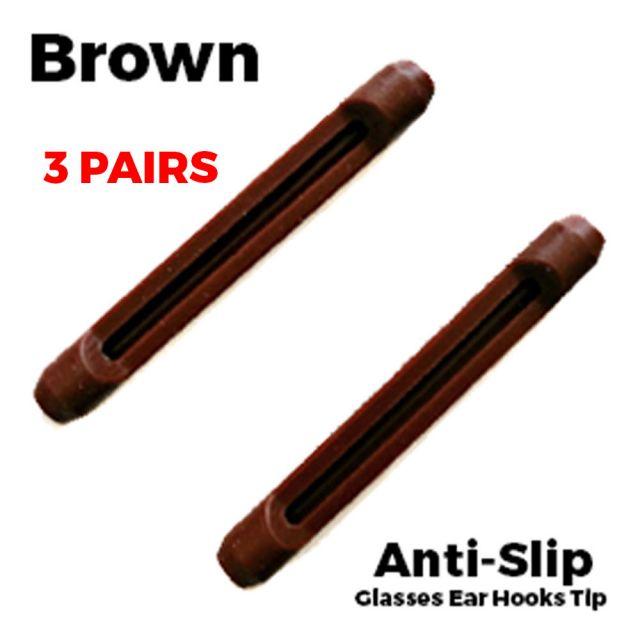 Glasses Ear Silicone Tubes Anti-Slip Grip Brown