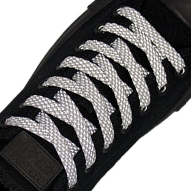 Reflective Shoelaces Flat Grey 120 cm