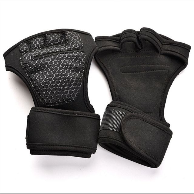 Black Weight Lifting Gym Gloves