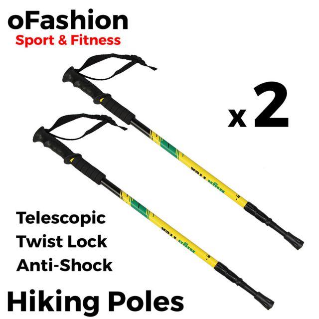 Hiking Trekking Walking Poles - Soft Grip Twist Lock Yellow Main Banner