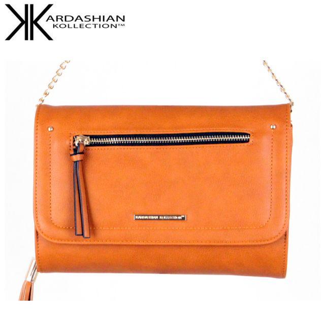 Tan Clutch Wallet With Tassel - Kardashian Kollection Handbags - Front