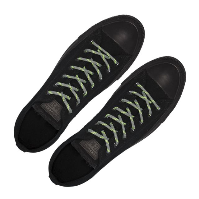 Grey with Green Spots - Round Spotted Shoelace - Length 120cm Ø4mm