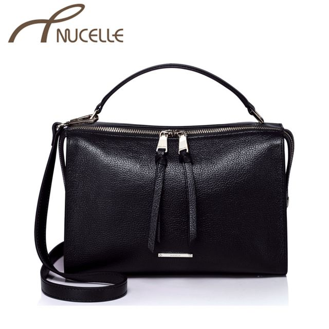 Compact Black Leather Tote Bag - Nucelle Handbags - Front