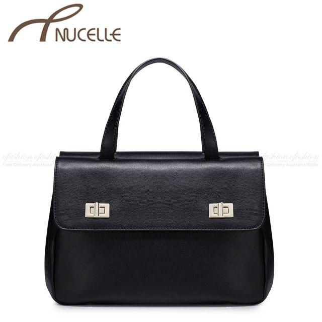 Black Large Twist Lock Leather Tote Bag - Nucelle Handbags - Front