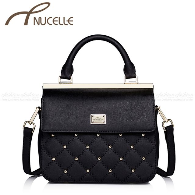 Black Small Sweet Leather Messenger Bag - Nucelle Handbags - Front