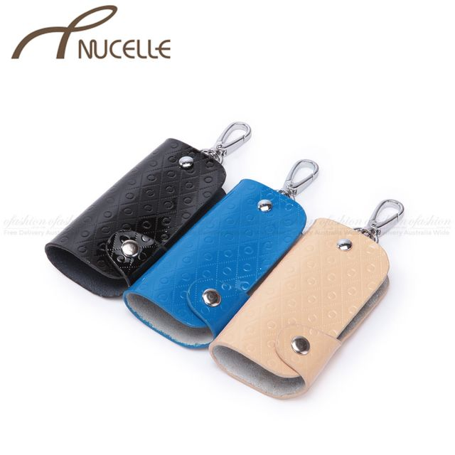 Blue Leather Key Ring - Nucelle Handbags - Side