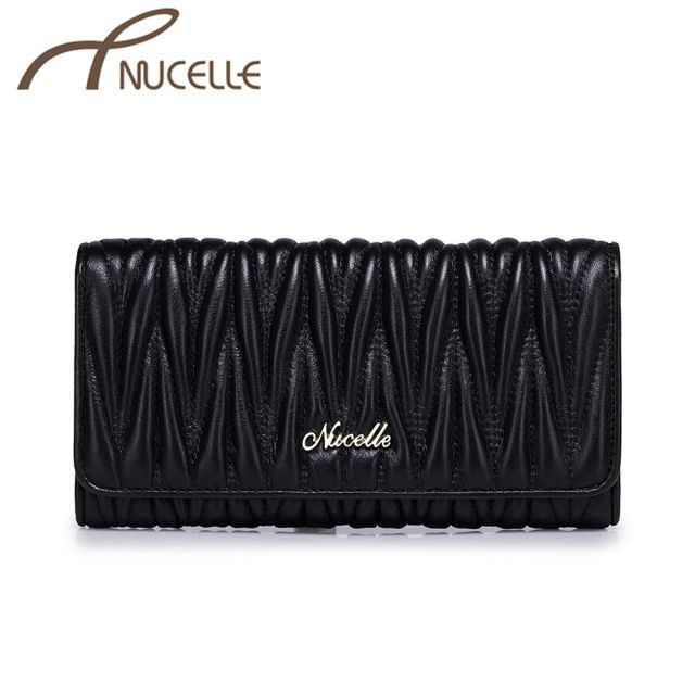 Black Long Sheepskin Leather Wallet - Nucelle Purse - Front