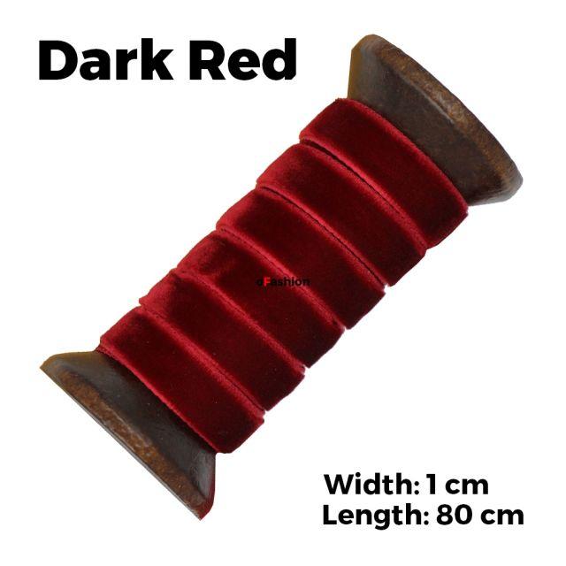 Velvet Ribbon Shoelaces - Dark Red L: 80cm W: 1cm