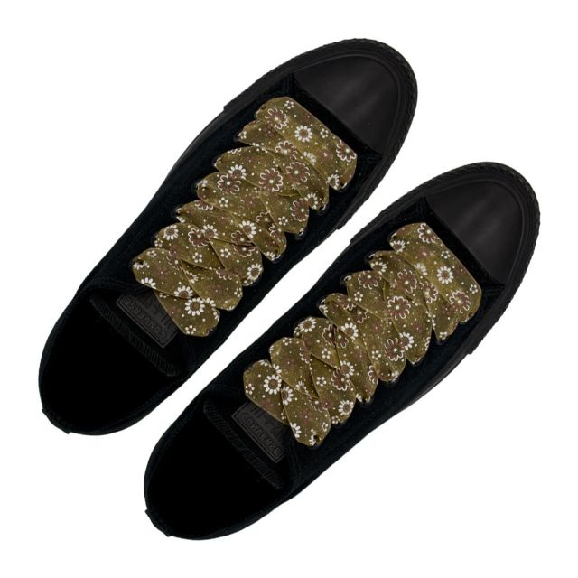 Organza Floral Fashion Shoelaces - Brown 120cm Length 2.5cm Width Flat